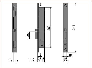 Размеры врезной 14020.15.1/2 для профильных дверей